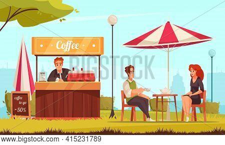 Restaurant Patio Street Cafe Coffee Counter Service Cartoon Composition With Couple Enjoying Tea Cha