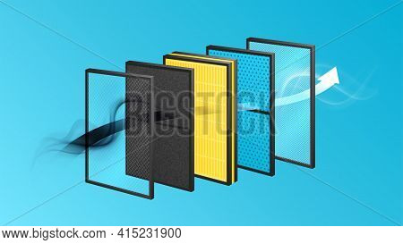 Layered Materials Realistic Composition With View Of Layers Row With Solid Frames And Air Flow Icons