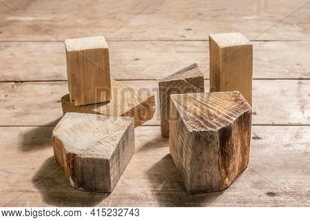 Modern Set Of Wooden Stand Podiums On Old Wooden Boards Background