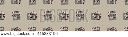 Hand Carved Mushroom Block Print Seamless Border Pattern. Rustic Naive Folk Motif Illustration Banne