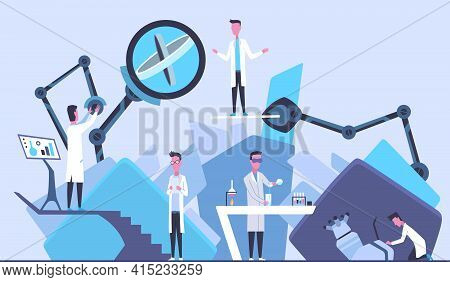 Scientists In Laboratory. Males In Lab Concept Who Making Research. People In White Coat, Chemical O