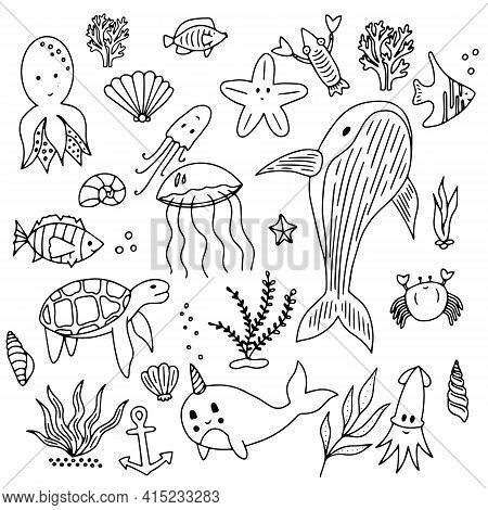 Sea Set Doodle Elements In Trendy Simple Style. Hand Drawn Trendy Illustration Marine Nautical Set O