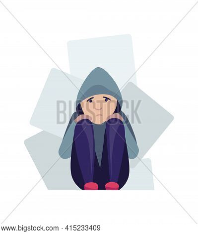 Depressed People. Sad Girl Sitting On The Floor And Hugging Her Knees. Lonely Teenager Lowered Her H