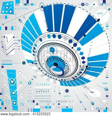 Dimensional Abstract Circular Mechanical Scheme, 3D Technological Pattern. Vector Industrial And Eng