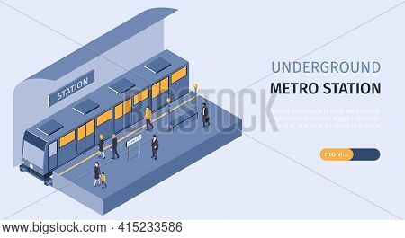 Subway Underground Metro Station Isometric Horizontal Web Banner With Passengers On Platform Boardin