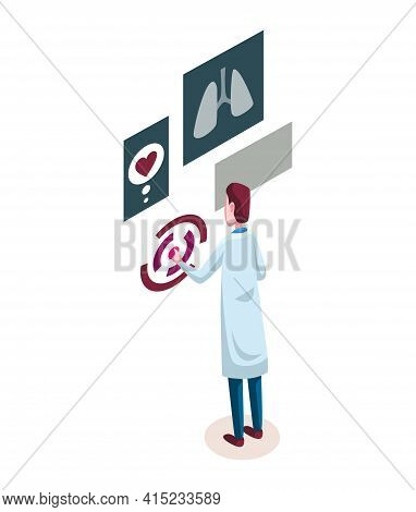 Medicine Researcher Isometric. Doctor Considers The Results Of Research. Isometric Vector Illustrati
