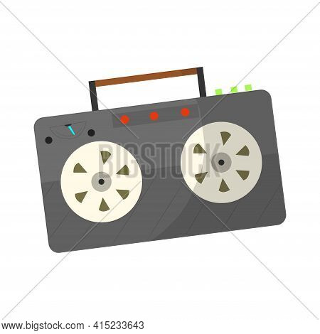 Vintage Music Object. Retro Audio Tape Recorder. Color Symbol Design. Vector Illustration Design Tem