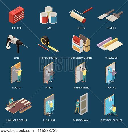 Diy Isometric Icons Set With Tools For Renovation And Characters Doing Repairs Isolated Vector Illus