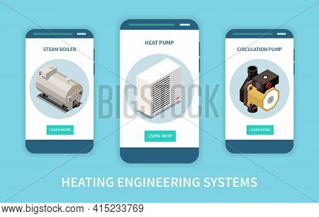 Heating Engineering System Isometric Vertical Banners Set With 3d Steam Boiler Heat And Circulation