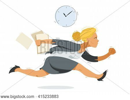 Business Woman Run And Hurry Late Vector Illustration, Funny Comic Cute Cartoon Accountant Or Busine