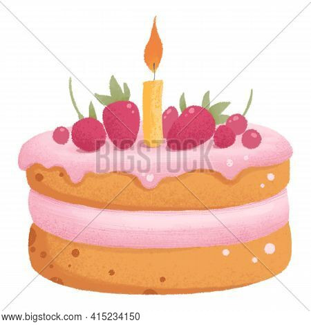 Delicious Pie Decorated With Berry On Cake Isolated On Light Background. Tasty Dessert, Confection O