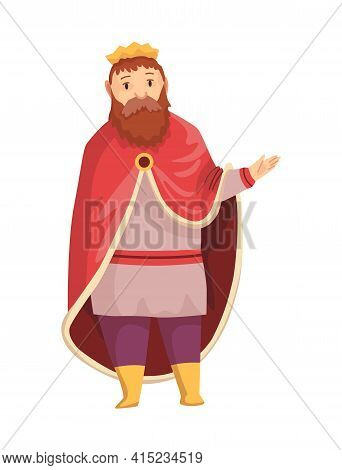 Medieval Kingdom Character Of Middle Ages Historic Period Vector Illustration. King With Crown And R