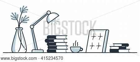 Education Or Intellectual Work Concept Work Desk With Books Vector Flat Illustration Isolated, Study