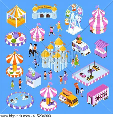 Amusement Park Isometric Icon Set With 3d Attractions Visitors Food Trucks Tents Isolated On Blue Ba
