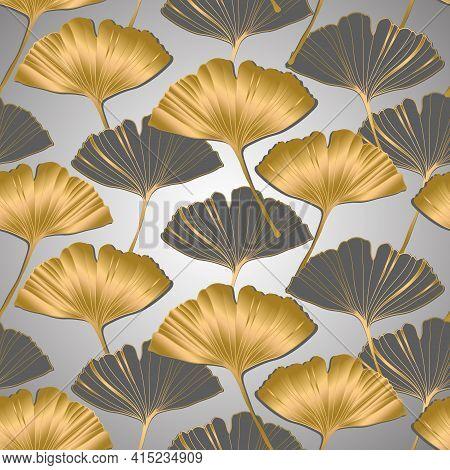 Vector Banner Of Ginkgo Biloba Leaf. Ink Line Art Design. Ginkgo Biloba Leaves. Seamless Pattern.
