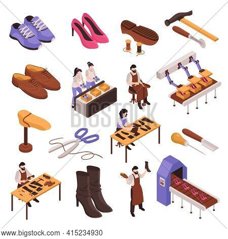 Shoes Repair Manufacturing Process Isometric Set With Shoemaker Traditional Craftsman Tools Modern F