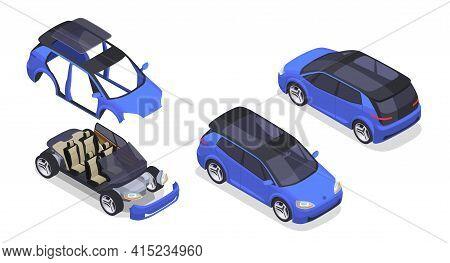 Car Designer Isometric Set With Prototype And Modeling Symbols Isolated Vector Illustration