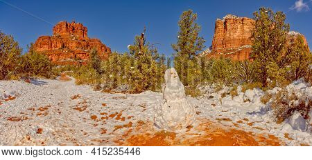 A Snowman That Was Made Along The Bell Rock Path In Sedona Arizona. This Is Public Land. No Property