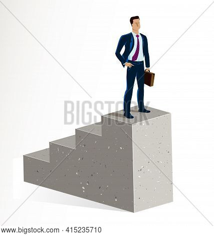 Businessman Standing On Top Stairs Vector Illustration, Success And Career Progress Concept, Leaders