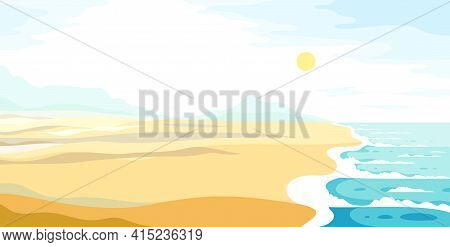 Tranquil Seashore Beach Ocean Or Sea, Summer Holidays And Vacations Theme Vector Illustration, Can B