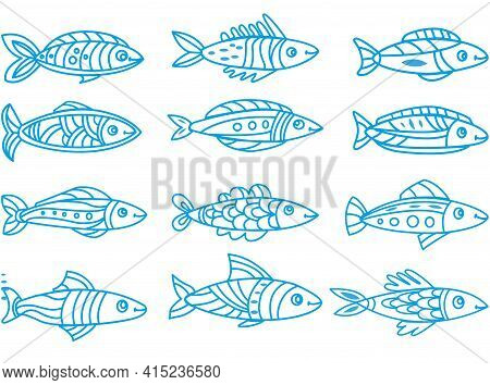 Set With Cute Vector Linear Decorative Sketchy Fishes