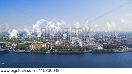 Modern European City With Visualisation Of Social Infrastructure And Communication Technology. Iot(i