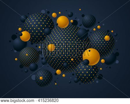 Black And Yellow Dotted Spheres Vector Illustration, Abstract Background With Beautiful Balls With D