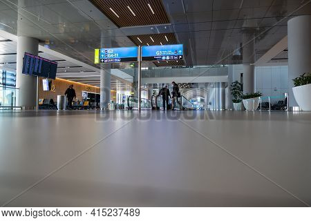 Arnavutkoy, Istanbul, Turkey - 03.08.2021: Wide Entrance Of Moving Walkway In Istanbul Airport, The