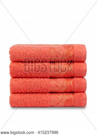 Terry Bath Towels, Rolled Up And Spread Out, Isolate On A White Background