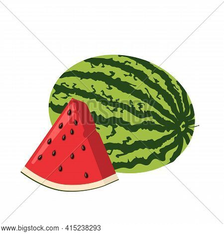 A Whole Watermelon And Slice Of Freshand Ripe Watermelon With Seeds.