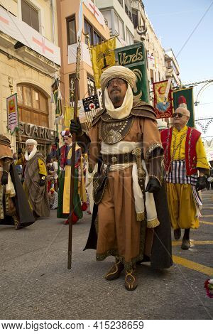 Alcoy, Alicante, Spain. 23 April 2017. Festival Of The Moors And Christians. The March Through The C