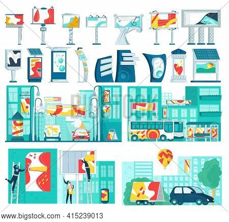 Advertising Commercial Business, Set Elements. Collection Billboard Advertising, Vector Illustration