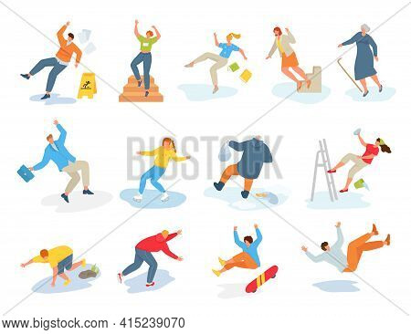 Collection Stickers With Falling People, Vector Illustration. Adult Man Woman Character Fall On Slip