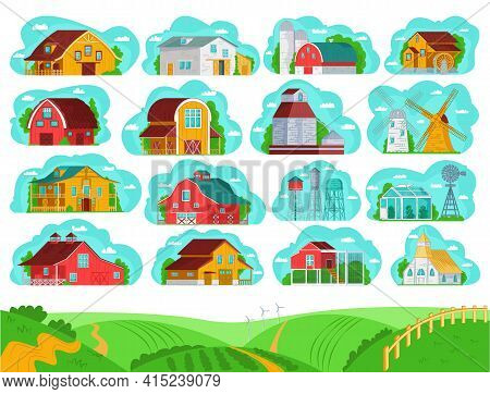Farm Rural Buildings Set, Vector Illustration. Beautiful Rural Architecture, Buildings In Village Co