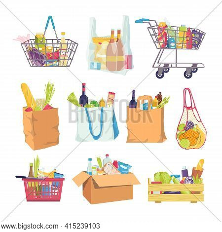 Grocery Food In Shop Basket, Cart Element Set Vector Illustration. Grocery Bags For Shopping Sticker