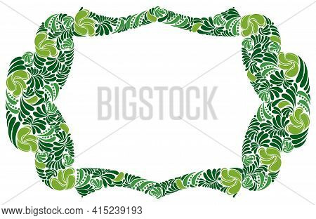 Decorative Blank Classic Style Border Vector Vintage Design, Floral Frame Made Of Leaves, Luxury Bea