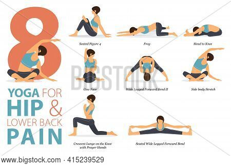 Infographic 8 Yoga Poses For Workout At Home In Concept Of Hip And Lower Back Pain In Flat Design. W