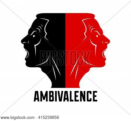 Ambivalence Inner Conflict And Bipolar Disorder Mental Health Vector Conceptual Illustration Or Logo