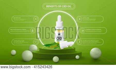 Benefits Of Use Cbd Oil. Green Information Poster Of Medical Uses For Cbd Oil With Glass Transparent