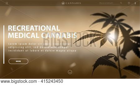 Recreational Medical Cannabis, Brown Template Of Discount Banner For Website With Silhouette Of Cann