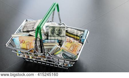 Symbol Of Cash Bills In Product Basket In Form Of Different Currencies. Concept Of Success, Deprecia