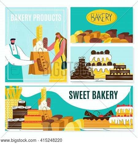Bakery Banner Set, Vector Illustration. Baker Man Give Pastry Product To Woman Flat People. Food Ele