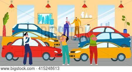 Customer Man Woman At Car Showroom, Vehicle Automobile Sale Business, Vector Illustration. People Bu