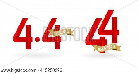 4.4 Mega Sale, 4.4 Online Sale, With Gradient Red And Golden Ribbon Applicable Poster Or Flyer Desig