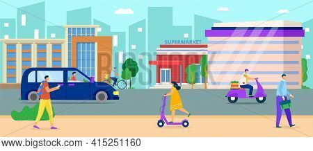 City Urban Road, Vector Illustration. Flat People Charcater Walk At Town Street, Cartoon Life Scene