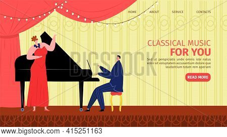 Classical Piano Music, Singer With Microphone Landing Page, Vector Illustration. Man Woman People Mu