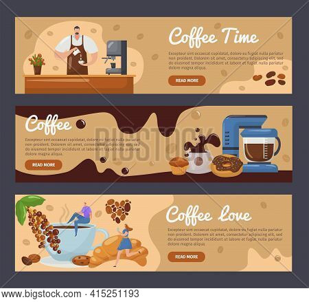 Coffee Time Flat Banner Set Concept, Vector Illustration. Cartoon People Character At Business Desig