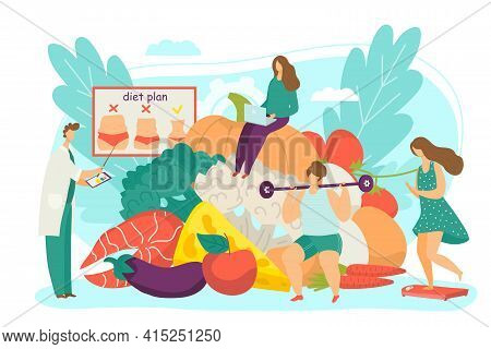 Doctor Develop Healthy Diet, Nutritionist Show Food Meal For Woman Weight Loss, Vector Illustration.