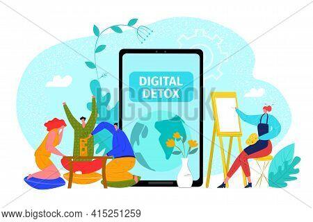 Digital Detox, Communication Offline Without Device Concept, Vector Illustration. Exit Huge Smartpho