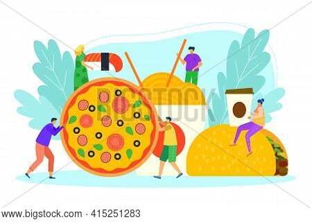 Fast Food Meal, Vector Illustration. People Man Woman Person Character Near Huge Cartoon Fastfood, T